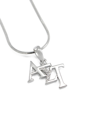 Necklace - Alpha Sigma Tau Sterling Silver Diagonal Lavaliere With Simulated Diamonds