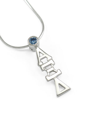Necklace - Alpha Xi Delta Sterling Silver Lavaliere Pendant With Blue CZ Crystal