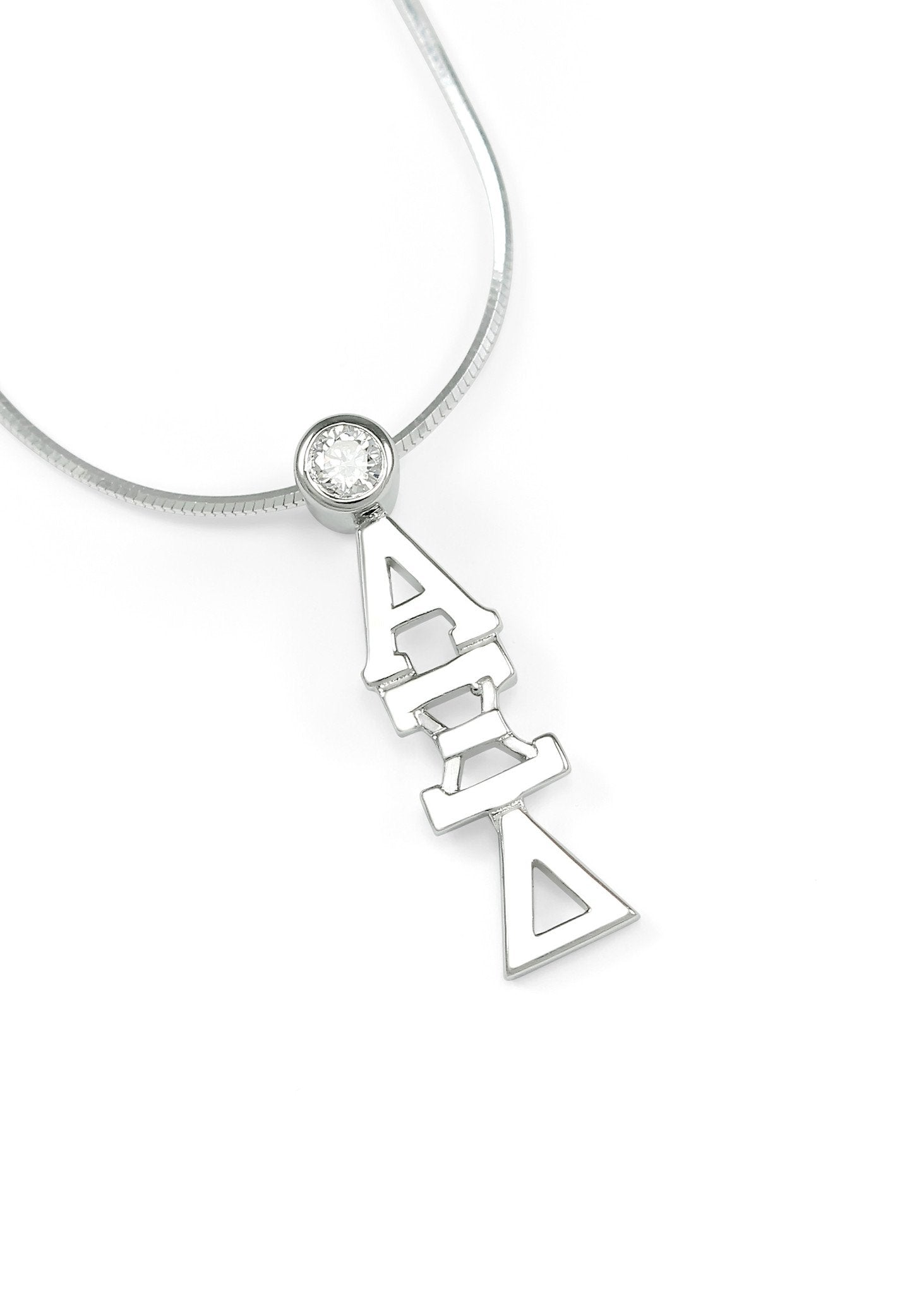 Alpha Xi Delta Sterling Silver Lavaliere With Clear Cz Crystal The