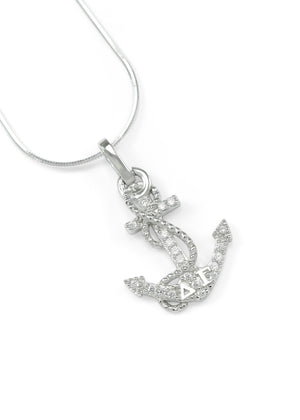 Necklace - Delta Gamma Sterling Silver Anchor Pendant With Simulated Diamonds