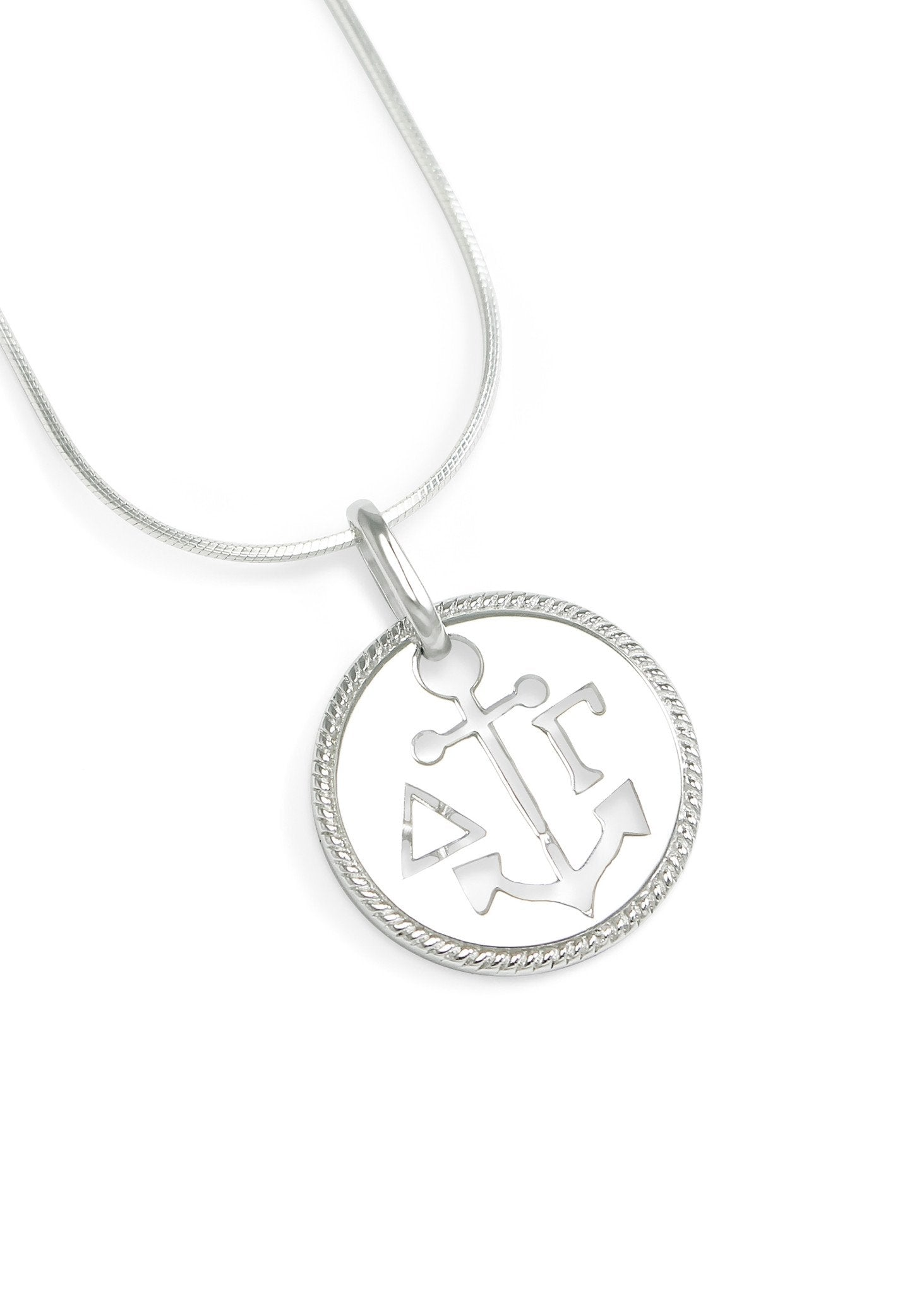 necklace delta gamma sterling silver circular pendant with cut out anchor and letters