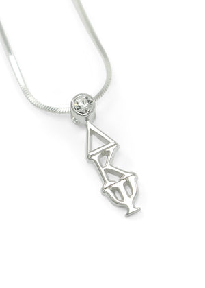 Necklace - Delta Kappa Psi Sterling Silver Lavaliere With Clear CZ Crystal