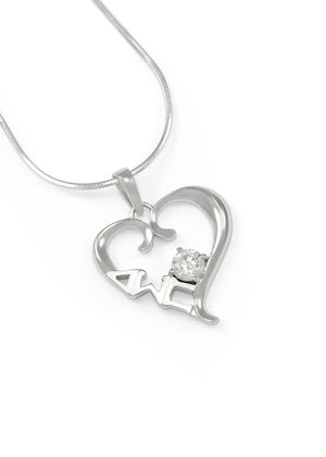Necklace - Delta Sigma Pi Sterling Silver Heart Pendant With Clear CZ Crystal