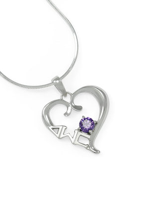 Necklace - Delta Sigma Pi Sterling Silver Heart Pendant With Purple CZ Crystal