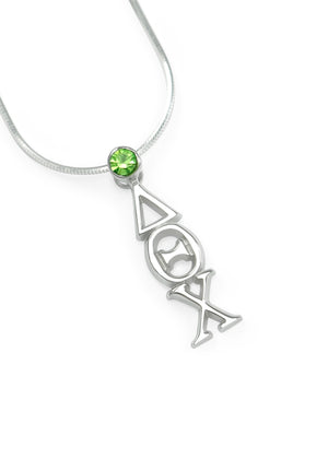 Necklace - Delta Theta Chi Sterling Silver Lavaliere With Green Crystal