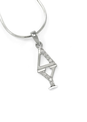 Necklace - Delta Upsilon Sterling Silver Lavaliere With Simulated Diamonds