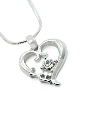 Necklace - Gamma Eta Sterling Silver Heart Pendant With Clear CZ Crystal