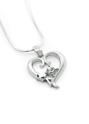 Necklace - Kappa Delta Sterling Silver Heart Pendant With CZ Crystal