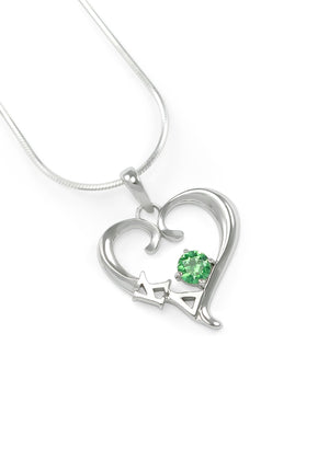 Necklace - Kappa Delta Sterling Silver Heart Pendant With Green CZ Crystal