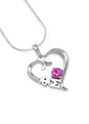 Necklace - Phi Mu Sterling Silver Heart Pendant With Rose CZ Crystal
