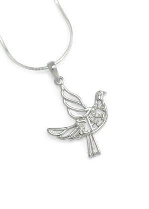 Necklace - Sigma Alpha Omega Sterling Silver Dove Pendant With Greek Letters