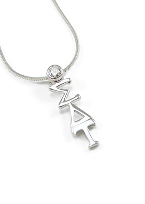 Necklace - Sigma Delta Tau Sterling Silver Lavaliere Pendant With Clear Crystal