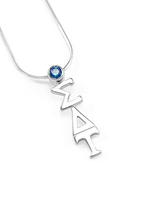 Necklace - Sigma Delta Tau Sterling Silver Pendant With Blue Crystal