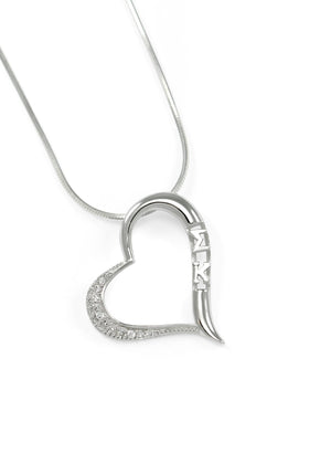 Necklace - Sigma Kappa Angled Heart Pendant With Simulated Diamonds