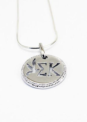 Necklace - Sigma Kappa Sterling Silver Circular Pendant With Cut-out Dove And Letters