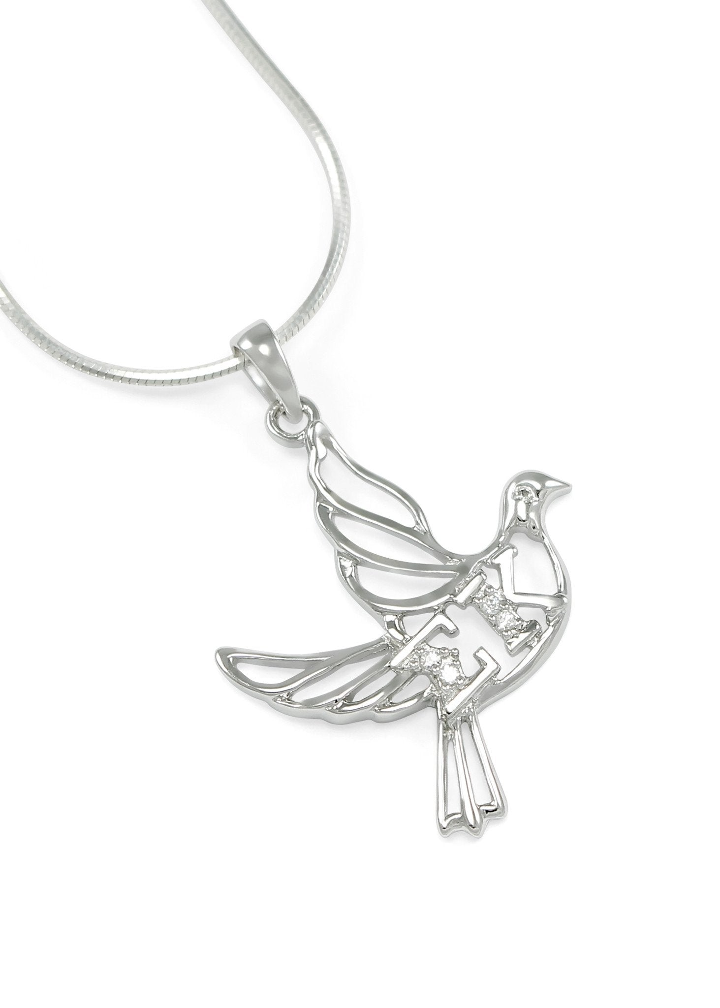 ornami curb pin chain jewelry ladies on pendant open silver dove