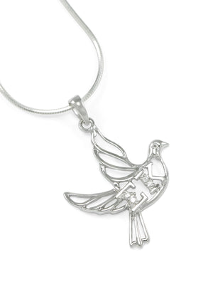 Necklace - Sigma Kappa Sterling Silver Dove Pendant With Greek Letters
