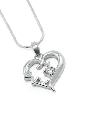 Necklace - Sigma Kappa Sterling Silver Heart Pendant With Clear CZ Crystal