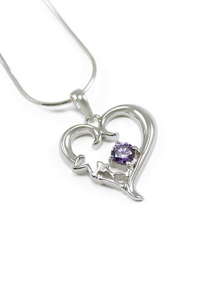 Necklace - Sigma Kappa Sterling Silver Heart Pendant With Purple Crystal