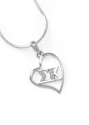 Necklace - Sigma Kappa Sterling Silver Heart Pendant With Simulated Diamonds