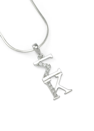 Necklace - Sigma Kappa Sterling Silver Lavaliere With Simulated Diamonds