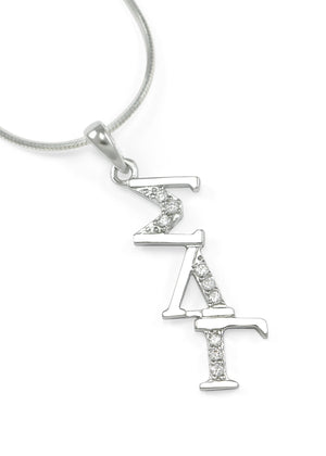 Necklace - Sigma Lambda Gamma Sterling Silver Diagonal Lavaliere With Simulated Diamonds