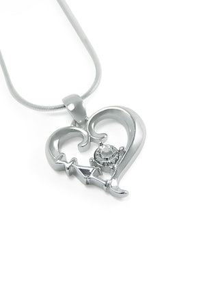 Necklace - Sigma Lambda Gamma Sterling Silver Heart Pendant With Clear CZ Crystal