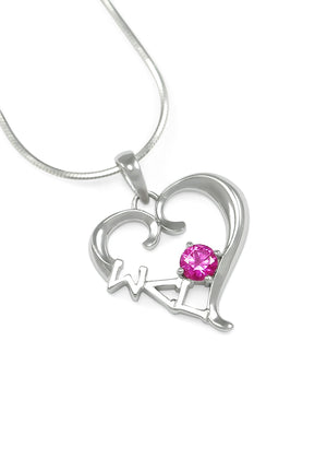 Necklace - Sigma Lambda Gamma Sterling Silver Heart Pendant With Pink CZ Crystal