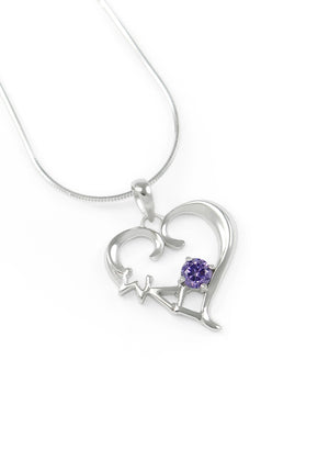 Necklace - Sigma Lambda Gamma Sterling Silver Heart Pendant With Purple CZ Crystal
