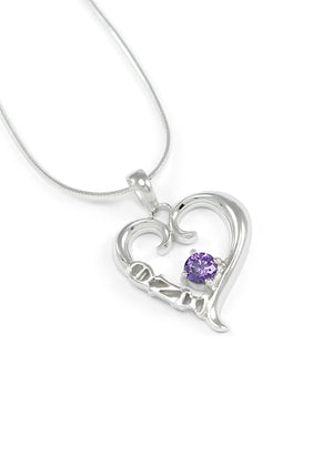 Necklace - Theta Nu Xi Sterling Silver Heart Pendant With Purple Swarovski Crystal