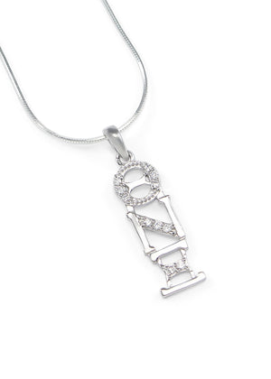 Necklace - Theta Nu Xi Sterling Silver Lavaliere Pendant With Simulated Diamonds