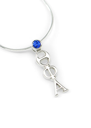 Necklace - Theta Phi Alpha Sterling Silver Lavaliere With Blue Crystal