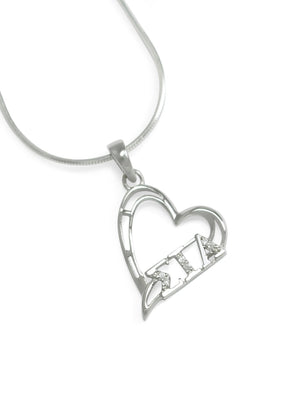Pendant - Sigma Iota Alpha Sterling Silver Diagonal Heart Pendant With CZs