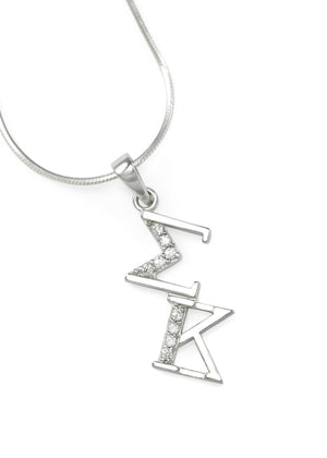 Pendant - Sigma Kappa Sterling Silver Diagonal Lavaliere With Simulated Diamonds