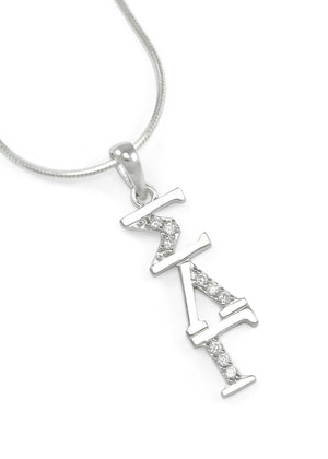 Pendant - Sigma Lambda Gamma Sterling Silver Lavaliere With Simulated Diamonds