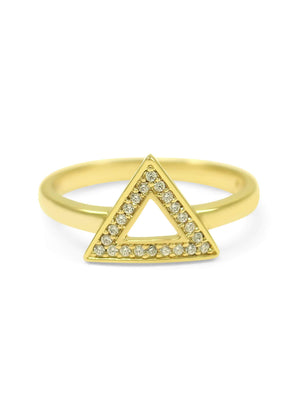 Ring - 14k Gold Plated Delta Triangle Ring With CZs