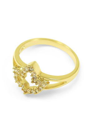 Ring - 14k Gold Plated Ivy Leaf Ring With CZs