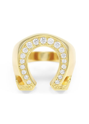 Ring - 14k Gold Plated Omega Ring With 20 Stones