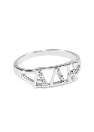 Ring - Alpha Delta Eta Sterling Silver Ring With Simulated Diamonds