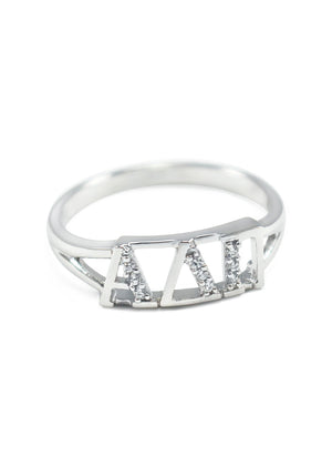 Ring - Alpha Delta Pi Sterling Silver Ring With Simulated Diamonds