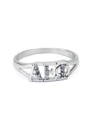 Ring - Alpha Epsilon Phi Sterling Silver Ring With Simulated Diamonds
