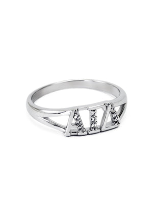 Ring - Alpha Gamma Delta Sterling Silver Ring With Simulated Diamonds