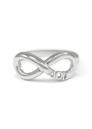 Ring - Alpha Omicron Pi Sterling Silver Infinity Ring