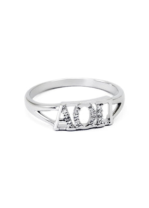 Ring - Alpha Omicron Pi Sterling Silver Ring With Simulated Diamonds