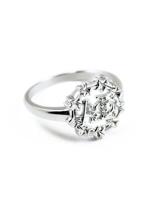 Ring - Alpha Phi Halo Ivy Leaf Sterling Silver Ring With Simulated Diamonds
