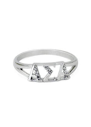 Ring - Alpha Sigma Alpha Sterling Silver Ring With Simulated Diamonds
