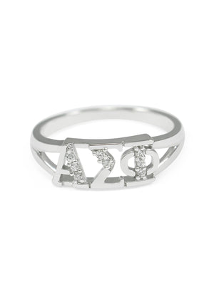 Ring - Alpha Sigma Phi Sterling Silver Ring With Simulated Diamonds