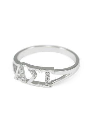 Ring - Alpha Sigma Tau Sterling Silver Ring With Simulated Diamonds