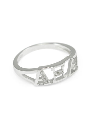 Ring - Alpha Xi Delta Sterling Silver Ring With Simulated Diamonds