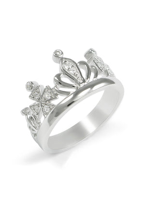 Ring - Crown Ring With CZ Diamonds